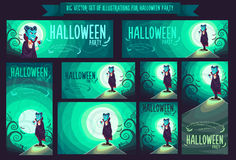 Big set with vector illustration for Halloween party Royalty Free Stock Image
