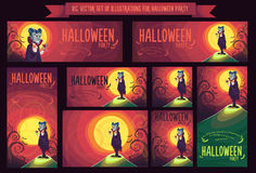 Big set with vector illustration for Halloween party Stock Photo