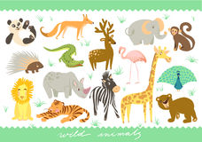 Big Set of vector illustration. Zoo cute animals. Royalty Free Stock Photos