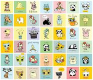 Big set of vector kid`s cards with simple animals. Big set of vector kid`s cards with simple design of cute animals. Perfect for kid`s banners, stickers and Royalty Free Stock Photography