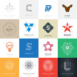 Big set of vector logos with stars, letters, lamp, maze and over Stock Photography