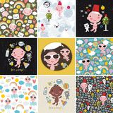 Big set of vector patterns with cute little baby. Royalty Free Stock Images