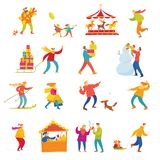 Big set of vector people doing shopping and winter holiday Christmas activities. Big set of abstract people doing shopping and winter activities. Vector stock illustration