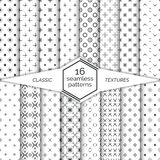 Big set of vector seamless patterns. Classical geometric textures. Regularly repeating geometrical wrapping surfaces with different shapes. Trendy graphic vector illustration