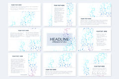 Big set of vector templates for presentation slides. Modern graphic background structure molecule and communication Stock Photos