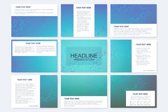 Big set of vector templates for presentation slides. Modern graphic background structure molecule and communication Royalty Free Stock Photos
