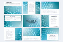 Big set of vector templates for presentation slides. Modern graphic background structure molecule and communication Stock Images