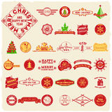 Big set of vintage Christmas labels. With retro colors Royalty Free Stock Photos