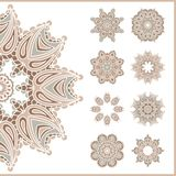 Big set of vintage circular ornaments. Vintage decorative elements. Set of beautiful ethnic, oriental ornaments. Stylized flowers. Stock Images
