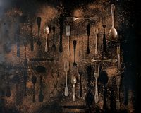 Set of vintage cutlery Royalty Free Stock Photography