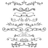 Big set of vintage elements. Vector decoration collection. Hand drawn flowers Royalty Free Stock Photos