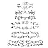 Big set of vintage frames. Vector decoration collection. Hand drawn flowers, leaves and page decor. Stock Photos