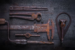 Big set of vintage tools Royalty Free Stock Photo