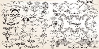 Big set of vintage vector calligraphic elements. For design Royalty Free Stock Photo