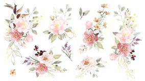 Big set of watercolor flowers bouquets with golden elements