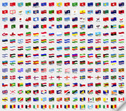 Big set wavy flags. Vector illustration Stock Photo