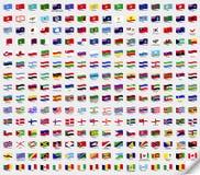 Big set wavy flags. Vector illustration Stock Photo