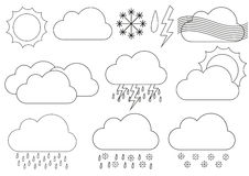 Big set of weather icons eg. for forecast applications Royalty Free Stock Photography