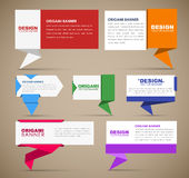 Big set of web banners in origami style Royalty Free Stock Photography