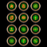 Big set web of green icons Stock Photos