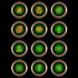 Big Set Web Of Green Icons Stock Photos
