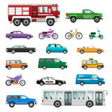 Big Set of wheeled transport in Flat design. Royalty Free Stock Photos