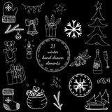 Big set white line winter elements with Christmas tree, big gift. And sack, bear and bell, bottle and glass, mitten and socks. Vector illustration for greeting Stock Photography