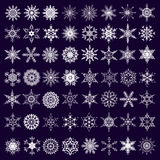 Big set of white snowflakes isolated Stock Photo