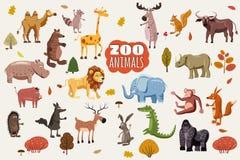 Big set of wild animals cartoon vectors. African, Australian, Asian, South and North American fauna predators and. Herbivorous species Stock Illustration