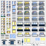 Big set windows, balconies and other for building Royalty Free Stock Photo