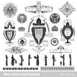 Big set of wine labels and elements. Royalty Free Stock Image
