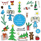 Big set winter elements with girl, Christmas tree, big gift. And sack, bear and bell, bottle and glass, mitten and socks. Vector illustration for greeting card Stock Photo