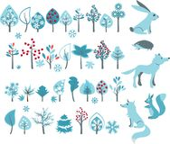 Big set with winter trees and forest animals Stock Image