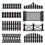 Big set of wooden fence silhouette Royalty Free Stock Image