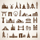 Big set of world landmarks and historic buildings. Vector silhouettes and icons Stock Photos