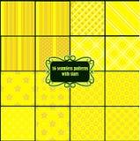 Big set of yellow patterns with stars Stock Photo