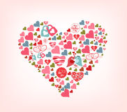 Big shape of cute hearts Stock Photos