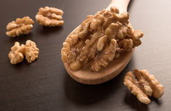 Big shelled walnuts on a wooden spoon Stock Image
