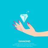 Big shining diamond and elegant women's hand. Stock Photo