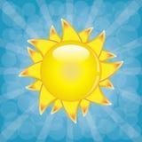 Big shining summer sun with sunbeams on the sky. Stock Photography