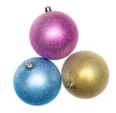 Big shiny Christmas balls isolated. Shiny Christmas balls isolated on white background Royalty Free Stock Image