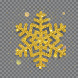 Big shiny Christmas snowflake. Made of golden glitters with sparkles and glares Stock Images