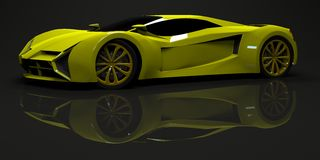 Big shiny sports car premium. Conceptual design. A. Prototype of fast transport of the future. Advanced engineering technology. The machine for motorsport. Ring Royalty Free Stock Photography