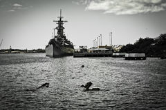 Big Ship. Parked at the Pearl Harbor Museum in Oahu, Hawaii Royalty Free Stock Photos