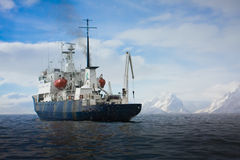 Big ship in Antarctica Royalty Free Stock Photography
