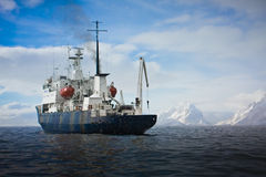 Big ship in Antarctica Stock Photos