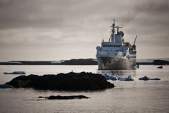 Big ship in Antarctica Stock Images