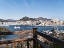 Big ship in bay of Yeosu city. South Korea stock photos