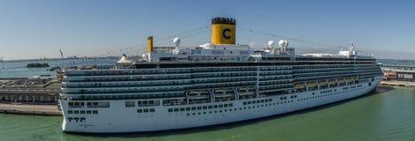 Big ship cruise panorama. View Royalty Free Stock Photo
