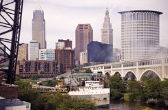 Big Ship on Cuyahoga River Royalty Free Stock Images